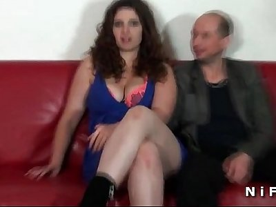Chubby french amateur brunette hard fucked in front of her cuckhold husband