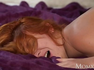 MOM Sexy curvy Russian redhead deepthroats and gets plowed by hard cock