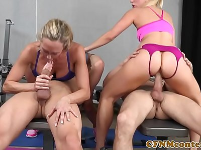 CFNM femdoms in group sucking and fucking