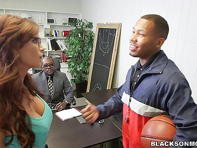Slutty Mom Sucks off Basketball Players