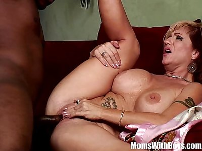 Mom Brittany Blaze Spreads For Big Black Cock